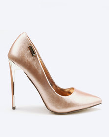 Sissy Boy Court With Gold Inlay Detail Heels Rose Gold