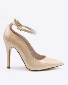 Sissy Boy Scallop Ankle Strap Court Heels Nude