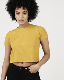 Paige Smith Crop T-Shirt Rib Mustard
