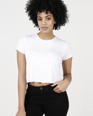Paige Smith Crop T-Shirt Rib White
