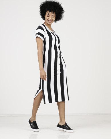 7181073b3d Paige Smith V-Neck T-Shirt Dress Stripe Black White