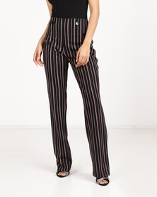 Paige Smith Straight Leg Stripe Pants Blush/Black