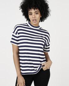 Paige Smith Hi-Neck Box Stripe T-Shirt Navy/Ivory