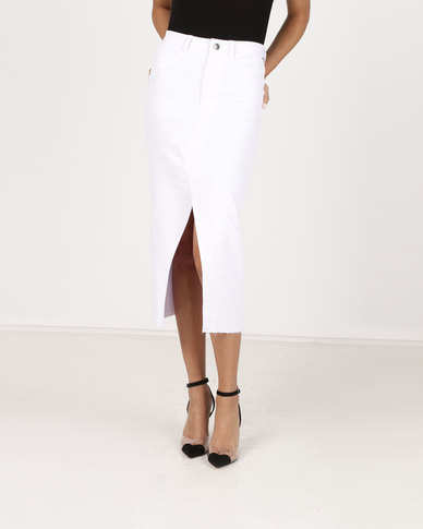 Paige Smith Denim Skirt White