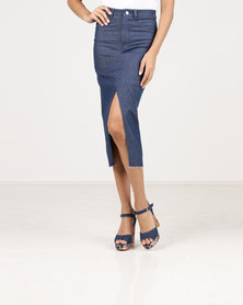 Paige Smith Denim Skirt Dark Blue