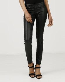 Utopia Coated Skinny Leg Jeans Black
