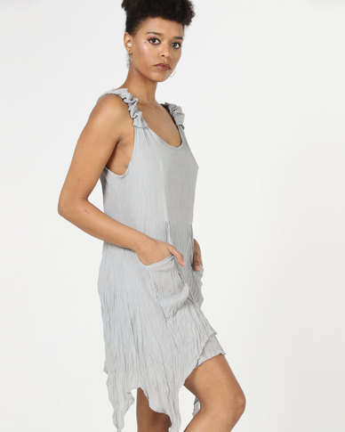 Utopia Double Layer Crushed Aline Dress Grey