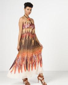 Utopia Feather Print Maxi Dress Orange