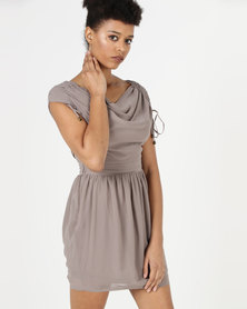 Utopia Cowl Neck Dress Taupe