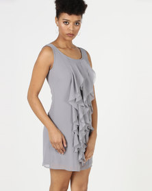 Utopia Shift Dress With Ruffles Grey
