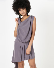 Utopia Asymmetrical Dress Charcoal