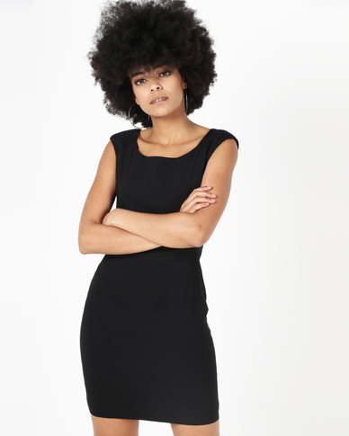 Utopia Shift Dress With Lace Insets Black