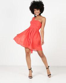 Utopia Chiffon One Shoulder Dress Orange
