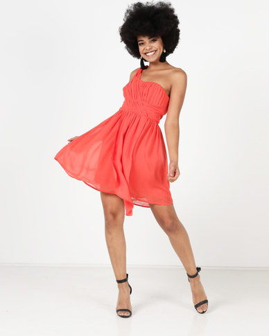 Utopia Chiffon One Shoulder Dress Orange