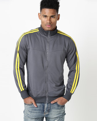 Utopia Tricot Zip Through Sweat Top Grey