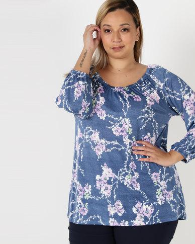 Queenspark Plus Pretty Floral Knit Top Blue