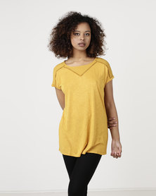 Cath.Nic  Combo Knit With Ladder Lace Detail Top Mustard