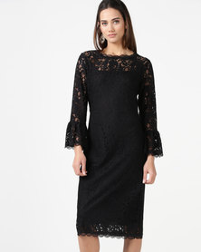 cath.nic By Queenspark Fashion Flared Sleeve Lace Woven Dress Black