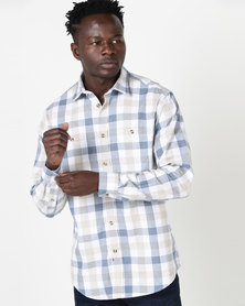 JCrew Check Long Sleeve Shirt Beige/Navy