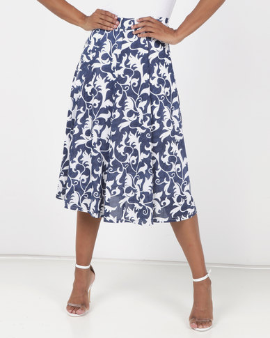 Queenspark Printed Flare Knit Skirt Blue