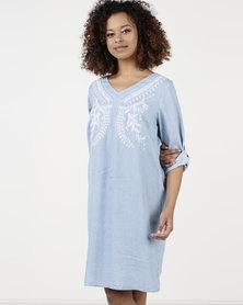 Queenspark Tencil 3/4 Sleeve  Detail Woven Dress Blue