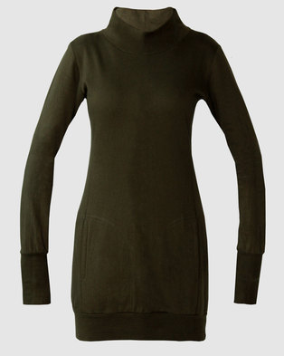 345c8cd206fceb Vivolicious 100% Cotton Olive Styler Extra-Long Fitted Hoodie