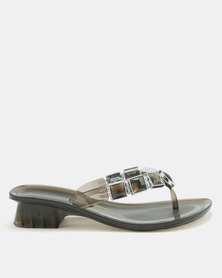 Queenspark Jelly With Square And Circle Trim Heels Charcoal