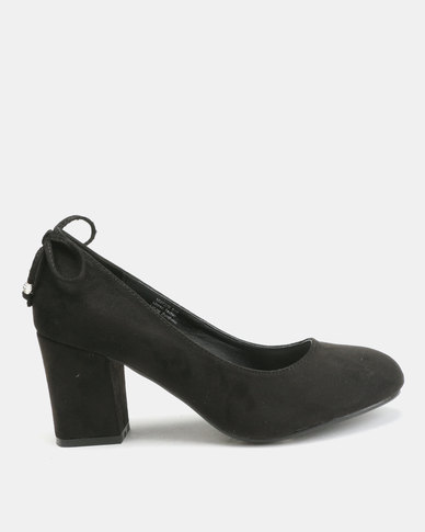 Queenspark M/F Court Shoes With Ankle Bow Black
