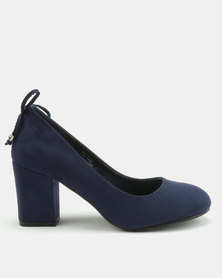 Queenspark M/F Court Shoes With Ankle Bow Navy