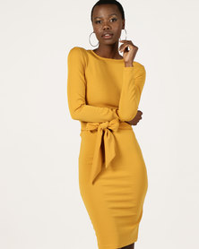 Utopia Long Sleeve Tie Front Dress Mustard