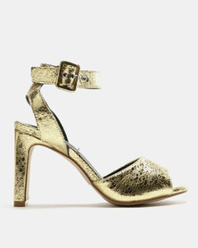 Legit Crushed Metallic Flat Block Heel Sandals Gold