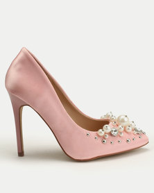 Legit Pointy Courts With Pearls And Embellishment Vamp Pink