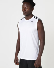 adidas Performance D2M Sleeveless 3 Stripes Tee White