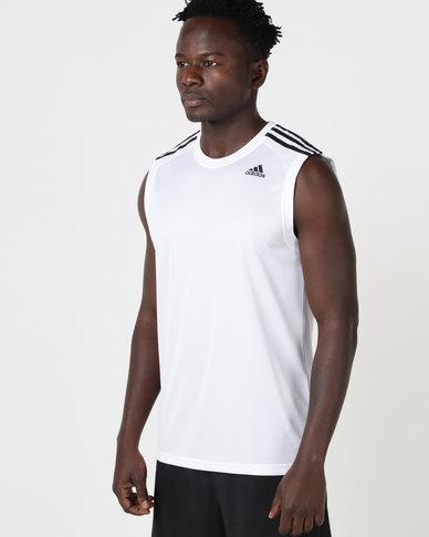 adidas Performance D2M Sleeveless 3 Stripes Tee White