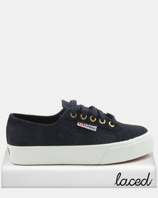 Superga Full Suede Mid Wedge Sneakers Blue