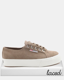 Superga Full Suede Mid Wedge Sneakers Sand