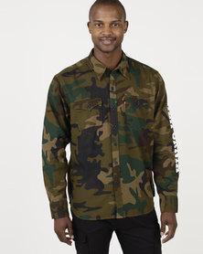 Levi's ® Modern Barstow Western Shirt Phalarope Dark Moss Print