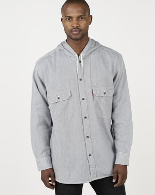 e4e2b6c9eeaacd Levi s ® Hooded Worker Shirt Hickory Stripe Blue