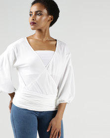 AX Paris Wrap Crop Top Cream