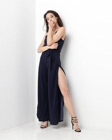 AX Paris Wide Leg Thigh Split Jumpsuit Navy