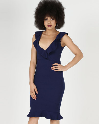 AX Paris V Neck Frill Detail Bodycon Dress Navy