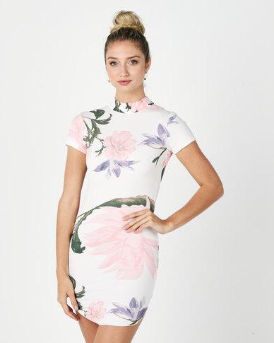 AX Paris Floral High Neck Mini Dress Cream