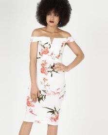 AX Paris Cream Floral Notch Front Midi Dress