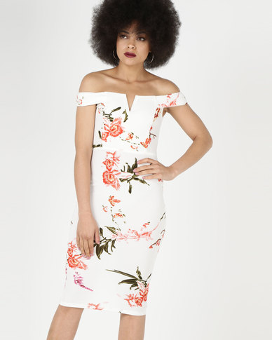 2fd869912ee1 AX Paris Cream Floral Notch Front Midi Dress | Zando
