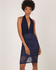 AX Paris Lace Backless Halter Neck Dress Navy