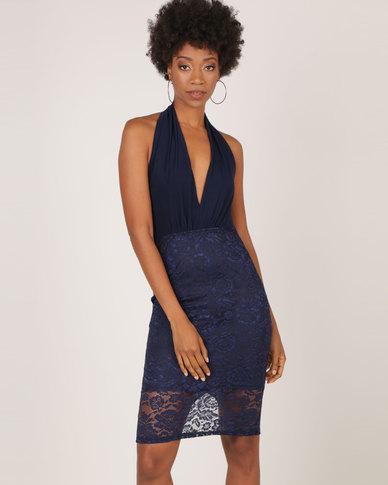AX Paris Lace Backless Halter Neck Dress Navy