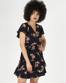 AX Paris Floral Frill Detail Dress Navy