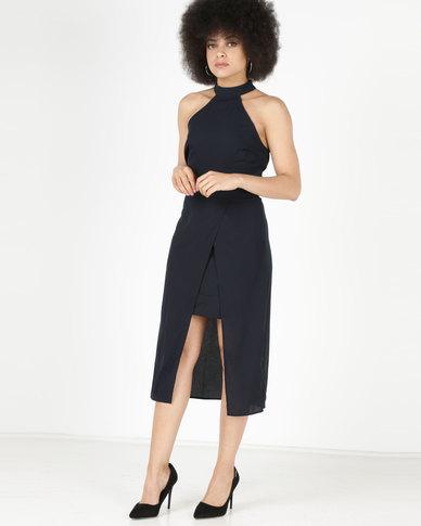 AX Paris Wrap Skirt Cut In Neck Dress Navy