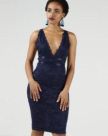 AX Paris Lace V Neckline Bodycon Dress Navy
