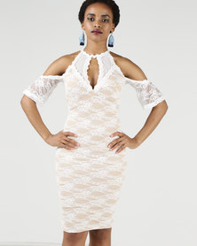 AX Paris Lace Choker Neck Midi Dress Cream